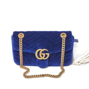 100% Auth Gucci Marmont Small Cobalt Velvet New